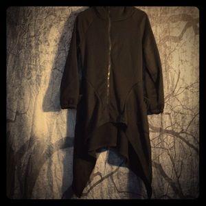 Jackets & Blazers - Asymmetrical hooded fleece coat. Goth witch style